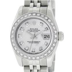 Rolex Ladies Stainless Steel Quickset Mother Of Pearl Diamond Datejust Wristwatc