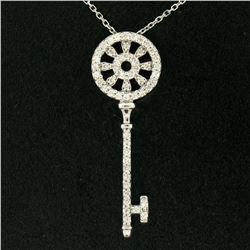 "14K White Gold .45 ctw Round Brilliant Diamond Wheel Key Pendant & 16"" Chain"