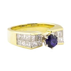 2.45 ctw Blue Sapphire And Diamond Ring - 18KT Yellow Gold