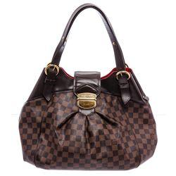 Louis Vuitton Damier Ebene Canvas Leather Sistina GM Bag