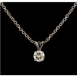1.00 ctw Diamond Solitaire Pendant With Chain - 14KT White Gold