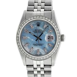 Rolex Mens Stainless Steel Blue MOP Baguette Diamond 36MM Datejust Wristwatch