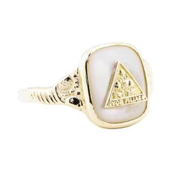 Job's Daughter Mother of Pearl Ring - 10KT Yellow Gold