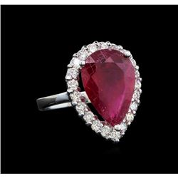 14KT White Gold 5.88 ctw Ruby and Diamond Ring