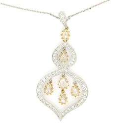 18kt White and Yellow Gold 2.10 ctw White and Yellow Diamond Dangle Pendant Neck