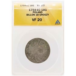 1754-EC Poland Billion 18 Groszy Coin ANACS VF20