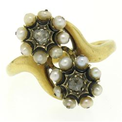 18k Gold Rose Diamonds Seed Pearl Enamel Bypass Ring
