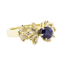 1.60 ctw Blue Sapphire And Diamond Ring - 14KT Yellow Gold