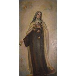 The Saint with angels antique painting on canvas - la Sainte très vieille peinture avec anges