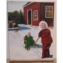 Robert A. Langdon original Winter sleigh painting - peinture originale 2 frères avec traineau