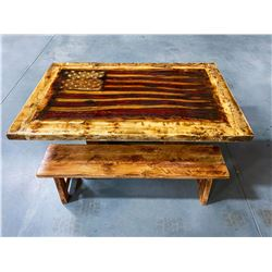 Custom Handcrafted Wood Flag Table with Benches