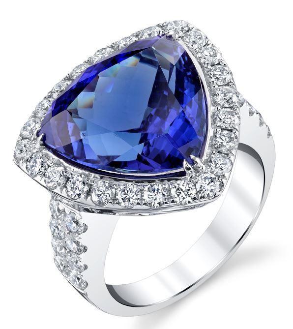 BARANOF: Natural Tanzanite and Diamond Ring in 14K White Gold