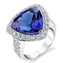 BARANOF: Natural Tanzanite and Diamond Ring in 14K White Gold