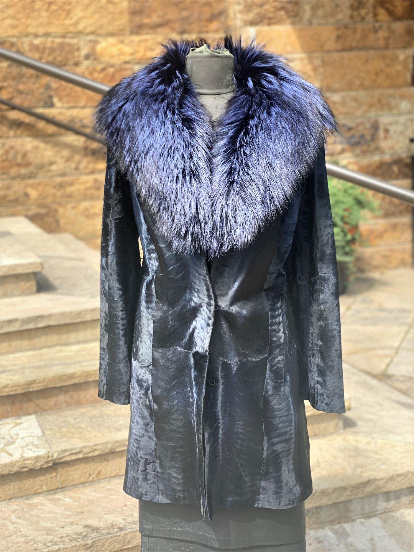 ALASKA FUR: Ladies Blue Broadtail Stroller with Silver Fox Shawl Collar