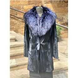 ALASKA FUR: Ladies Blue Broadtail Stroller with Silver Fox Shawl Collar