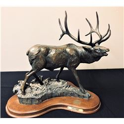 """Sounds of Autumn"" - Bronze Elk Sculpture by Cowboy Artist Terrell O'Brien"