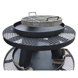 "HB HUNTING PRODUCTS: 36"" Steel Fire Pit with Grill and Shelf"