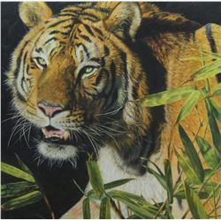 "ELEAZAR SAENZ: ""Tiger Safari"" - Original Oil on Canvas by Wildlife Artist Eleazar Saenz"