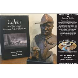 "WELLS GALLERY: ""Man in the Arena"" - Bronze Sculpture and Signed Copy Edition of ""Calvin and the Grea"