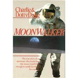 """Former NASA Astronaut Charlie Duke Framed Lunar Images and Hardcover Autobiography of """"Moonwalker"""""""