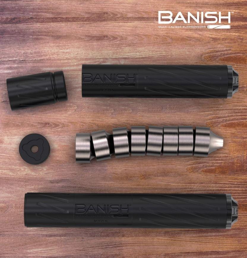 SILENCE CENTRAL Multi-Caliber Banish 30 Rifle Silencer and Multi-Caliber Banish 45 Pistol Silencer