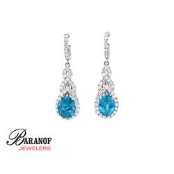 NATURAL BLUE ZIRCON & DIAMOND EARRINGS