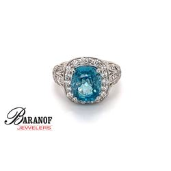 NATURAL BLUE ZIRCON & DIAMOND RING