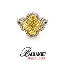 NATURAL FANCY YELLOW DIAMOND & WHITE DIAMOND RING