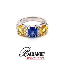 NATURAL BLUE & YELLOW SAPPHIRE & DIAMOND RING