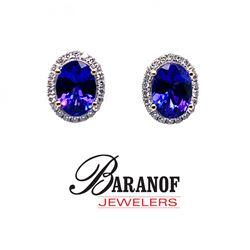 NATURAL TANZANITE & DIAMOND EARRINGS