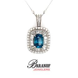 NATURAL BLUE ZIRCON & DIAMOND PENDANT