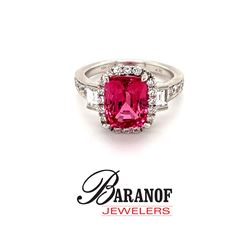 NATURAL FANCY PINK SAPPHIRE & DIAMOND RING