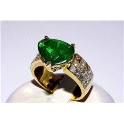 SA-16 7.6 ct Emerald & Diamond Ring