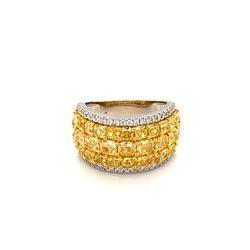 BARANOF JEWELERS: Natural Fancy Yellow Diamond Ring Set in 18 Karat White Gold