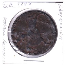 1793 Great Britain Lady Godiva Coventry Token. Comes with information sheets about Lady Godiva.