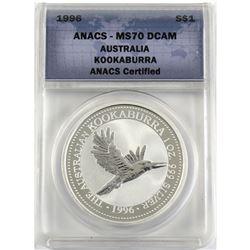 1996 Australia 1oz .999 Fine Silver Kookaburra ANACS Certified MS-70 DCAM (TAX Exempt).