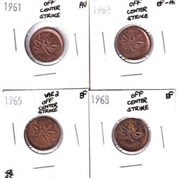 1961-1968 Canada 1-cent Off Center Strike Errors - 1961 Almost Uncirculated, 1962 EF-AU, 1965 Variet