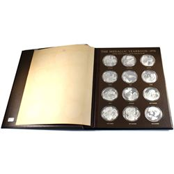 *1976 Franklin Mint Medallic Yearbook of 12 Different Sterling Silver Coins Depicting Events That To