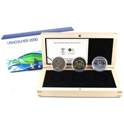 2010 Canada $5 Vancouver Olympic 3-coin Fine Silver Gold Plated Set (outer sleeve lightly worn). TAX