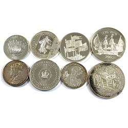 Estate Lot of Various Sterling Silver World Coins from Netherlands Antilles, Great Britain, South Af