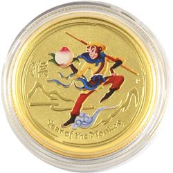 Rare! 2016 Australia 1/4oz Monkey King Coloured .9999 Fine Gold Coin in Capsule - Very Limited Minta