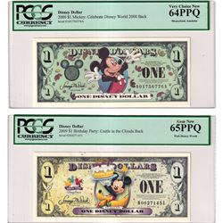 2000 & 2009 Disney Dollar PCGS Certified Notes. You will receive the 2000 Mickey, Celebrate Disney W