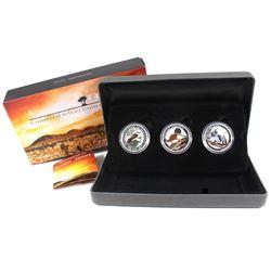 2015 Australia 3-coin Australian Outback Coloured 1/2oz Fine Silver Coloured Coin Set (Kangaroo & Ko