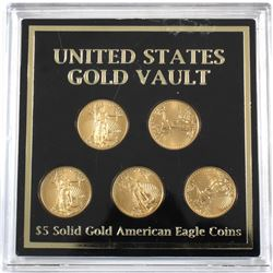 """United States Gold Vault"" Featuring 2010 USA 1/10oz Fine Gold Eagles in Hard Plastic Casing. 5pcs ("