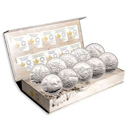 2014-2015 Canada $15 Exploring Canada 12-coin Fine Silver Set in Deluxe Display Case (TAX Exempt).