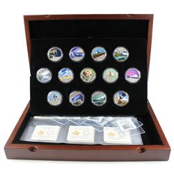 2017 $10 Celebrating Canada's 150th 13-coin Coloured Fine Silver Set in Deluxe Box (2 capsules are l
