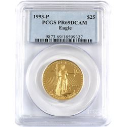 1993-P USA $25 1/2oz Fine Gold Eagle PCGS Certified PR-69 DCAM (TAX Exempt).