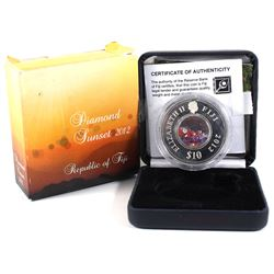 2012 Republic of Fiji $10 Diamond Sunset Zirconia Crystal Fine Silver Coin (impaired coin & packagin