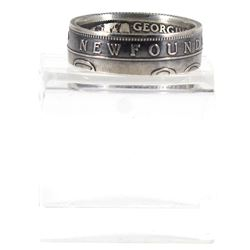 Newfoundland Silver 25-cent Coin Custom Jewellery Ring Size 8 - Made from a real Newfoundland 25-cen