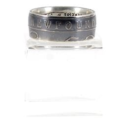 Newfoundland Silver 50-cent Coin Custom Jewellery Ring Size 9.5 - Made from a real Newfoundland 50-c